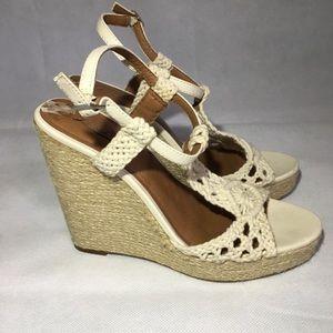 Lucky Brand Wedge Espadrille Sandals Crochet 8 Tan